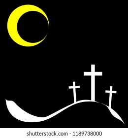 Three crucifix, christian cross on calvary or golgotha on black background for remembrance of Jesus sacrifice or God loving concept