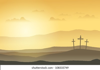 Three crucifixion cross standing on top of the hills.