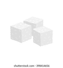 Three cubes of sugar. Refined. Isolated objects on white background.