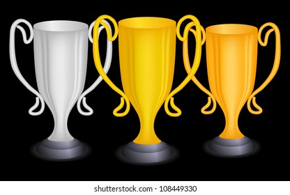 Three cup on black, vector, 10eps.