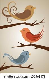 Three cute birds