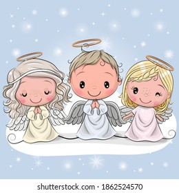 Three Cute Cartoon Christmas angels on a blue background