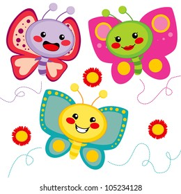 Three cute colorful butterfly friends flying together