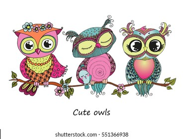 Three cute colorful cartoon owls sitting on tree branch with flowers. Horizontal illustration size A4 on white background. Can be used for sticker, birthday cards, invitations, print, textile