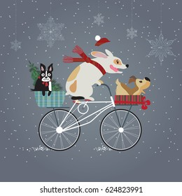 Three cute dogs on bicycle going to holiday party. Happy new year concept.  Merry Christmas. Holidays greeting card. Vector EPS 10 illustration.