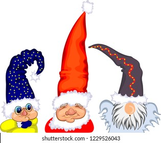 Three cute gnomes in big funny hats