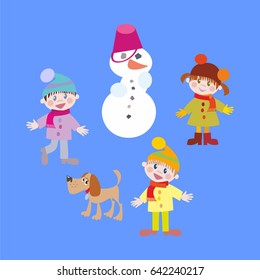 Three cute kids - two boys and a girl, in winter they play snowballs with a dog and a snowman. Vector hand flat illustration
