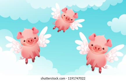 Three cute little pigs with wings flying among the clouds and a blue sky in the background. Vector illustration.