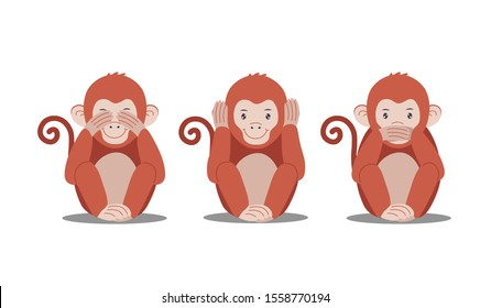 Three cute monkeys are closing eyes, ears, mouth, see no evil, hear no evil, speak no evil. Vector flat illustration.