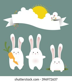 Three cute white rabbits celebrating spring and summer in the nature. Big copy space on the vector illustration of the white ribbon on the top of the image.