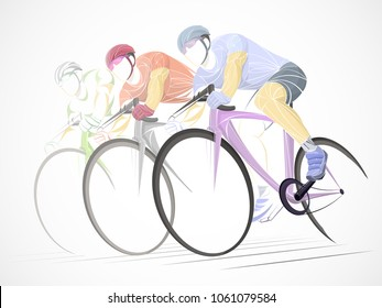 three cycling tour, track, bicycle, geometric, cyclist stylized vector. pastel sports background