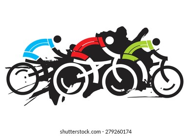 Three cyclist racers. Colorful expressive drawing of three cyclist racers. Vector illustration.