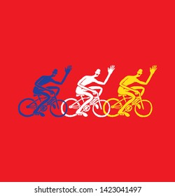 Three cyclists, cycling race.Illustration . Vector .