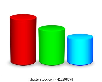 Three cylinders representing a graph. business growth concept