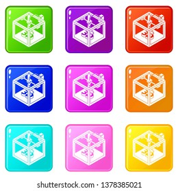 Three d printer icons set 9 color collection isolated on white for any design