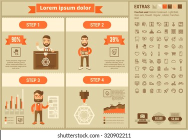 Three D printing infographic template and elements. The template includes illustrations of hipster man and huge awesome set of thin line icons. Modern minimalistic flat vector design.
