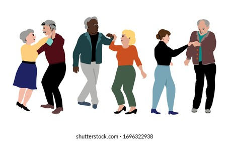 Three dancing couples horizontal flat style vector illustration. Active old people dance together. Illustration of grandparents spending time in a dance class. Аctive old age concept.
