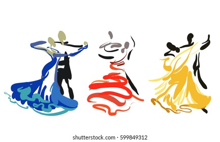 Three dancing couples. Sketch. Vector. Symbol. Waltz.