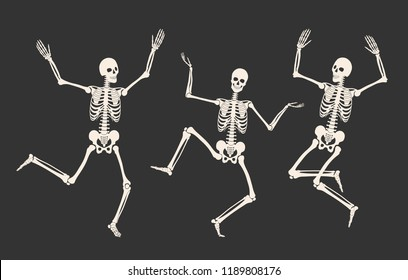 Three dancing skeletons isolated on a black background. Happy Halloween. Vector illustration