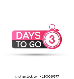 Three days to go flat icon. Vector stock illustration.