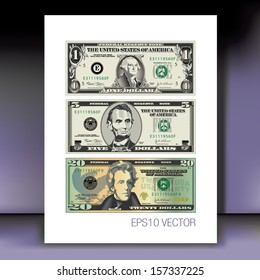 Three detailed, Stylized Vector Drawings of Bills on a Mauve Background