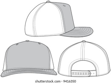 Three different angles of a trucker hat. Great for fashion design and illustration.