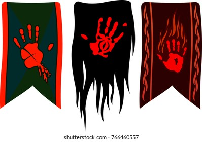 Three different banners with red palms on white background