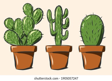 Three different cactus in terracotta pots, handdrawn in sketch and graphic style with various strokes widths. Vector image so resize to any size without losing resolution.