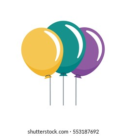 Three different colored balloons on strings vector illustration icon