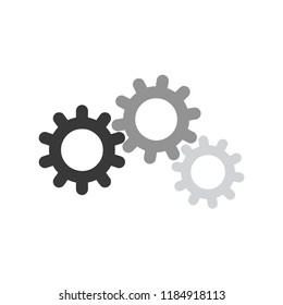 Three different colored gears, gears mechanism illustration vector