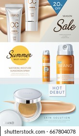 three different cosmetic themed web banner designs with product pictures, 3d illustration