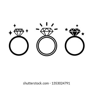 Three different diamond ring designs. Engagement or wedding crystal band line icon collection. Shiny rings vector illustration. Bridal shower. bachelorette party (hen party) black and white signs.