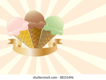 Three different flavours of Ice Cream on a sunburst background with a banner for your text