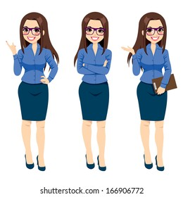 Three different full body illustration of beautiful brunette businesswoman with glasses posing making gestures