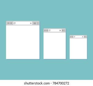 three different Internet windows on a blue background