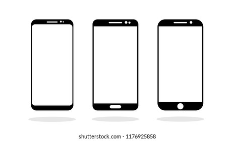 Three different kind of Smartphones. Icon. Vector Illustration EPS10
