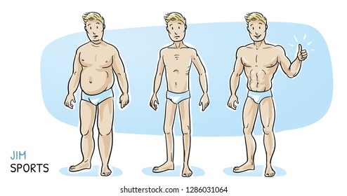 Three different men, fat, skinny and muscular. Fitness studio training and weight loss. Hand drawn cartoon sketch vector illustration, whiteboard marker style coloring.