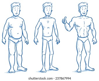 Three different men, fat, skinny and muscular. Fitness studio training weight loss. Hand drawn doodle vector illustration.