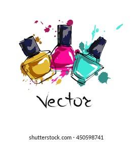 Three different nail polish. Spray the nail polish. Art vector illustration.