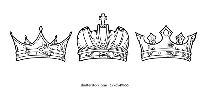 Three different royal crowns. Engraving vintage vector color illustration. Isolated on white background. Hand drawn design element