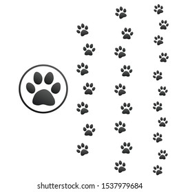 Three different size animal paw prints, Stock Vector illustration isolated on white background.