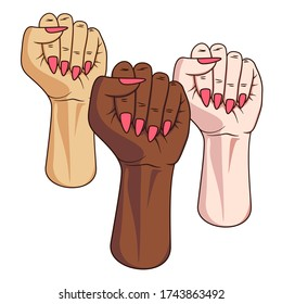 Three different skin colored female fists raised into air. Arm and hand of women. Feminist pride symbol for feminism united and fighting for rights. Sign of equality and protest for gender freedom.
