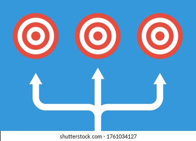 three different target same time, vector business concept