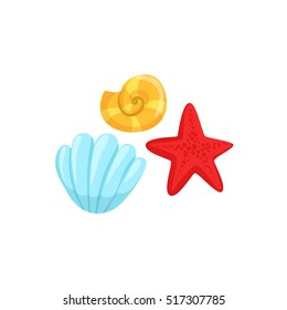 Three Different Underwater Organisms Set, Red Starfish, Yellow Shell And Blue Clam