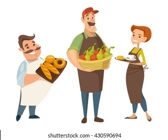 Three different vector professions designs. Backer, farmer and waiter. People cartoon style character designs.