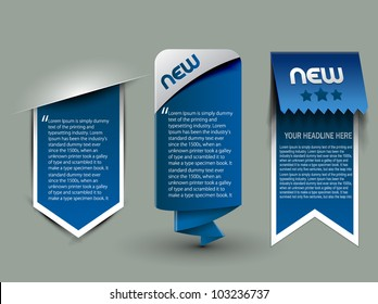 three different web style banner elements design.