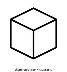 Three dimensional or 3D cube hexahedron line art vector icon for apps and websites
