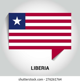 three dimensional 3d Liberia flag in a speech bubble . education foreign language concept . country's name label in bottom . Vector illustration