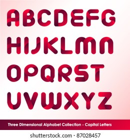 three dimensional alphabet set in capital letters