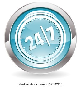 Three Dimensional circle button with twenty four hours by seven days  icon, vector illustration